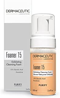 15% Glycolic Acid Face Wash - Exfoliating, Non Drying & Foaming Cleanser - Best Solution For Skin Tone & Texture, Acne, Wrinkles, Pores, Cell Renewal - Paraben & Parfume Free by Dermaceutic (100 Ml)
