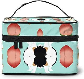 NOT Cute Peach Emoji Fabric Cute Corgi De Travel Makeup Bag Portable Makeup Boxes for Women Cosmetic Case Storage Organizer