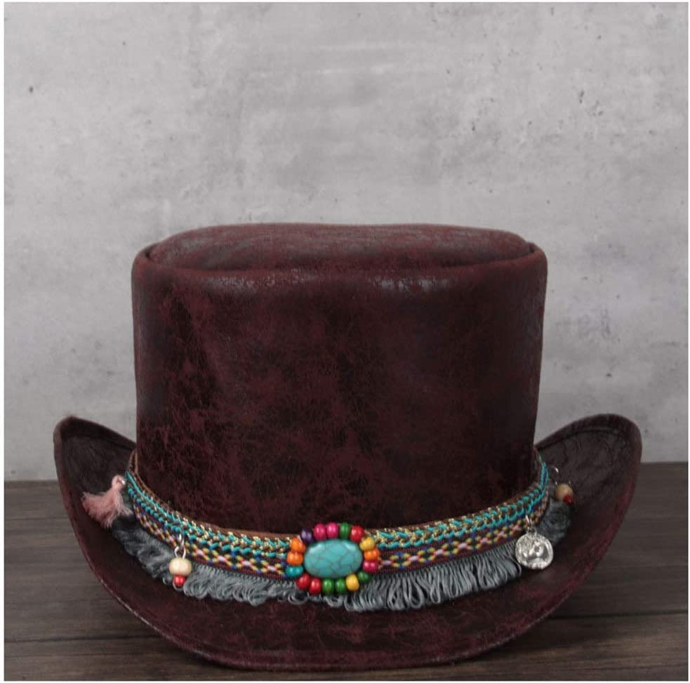 LHZUS Hats Max free shipping 87% OFF Leather Presidential Hat Vintage Ladies Party Men