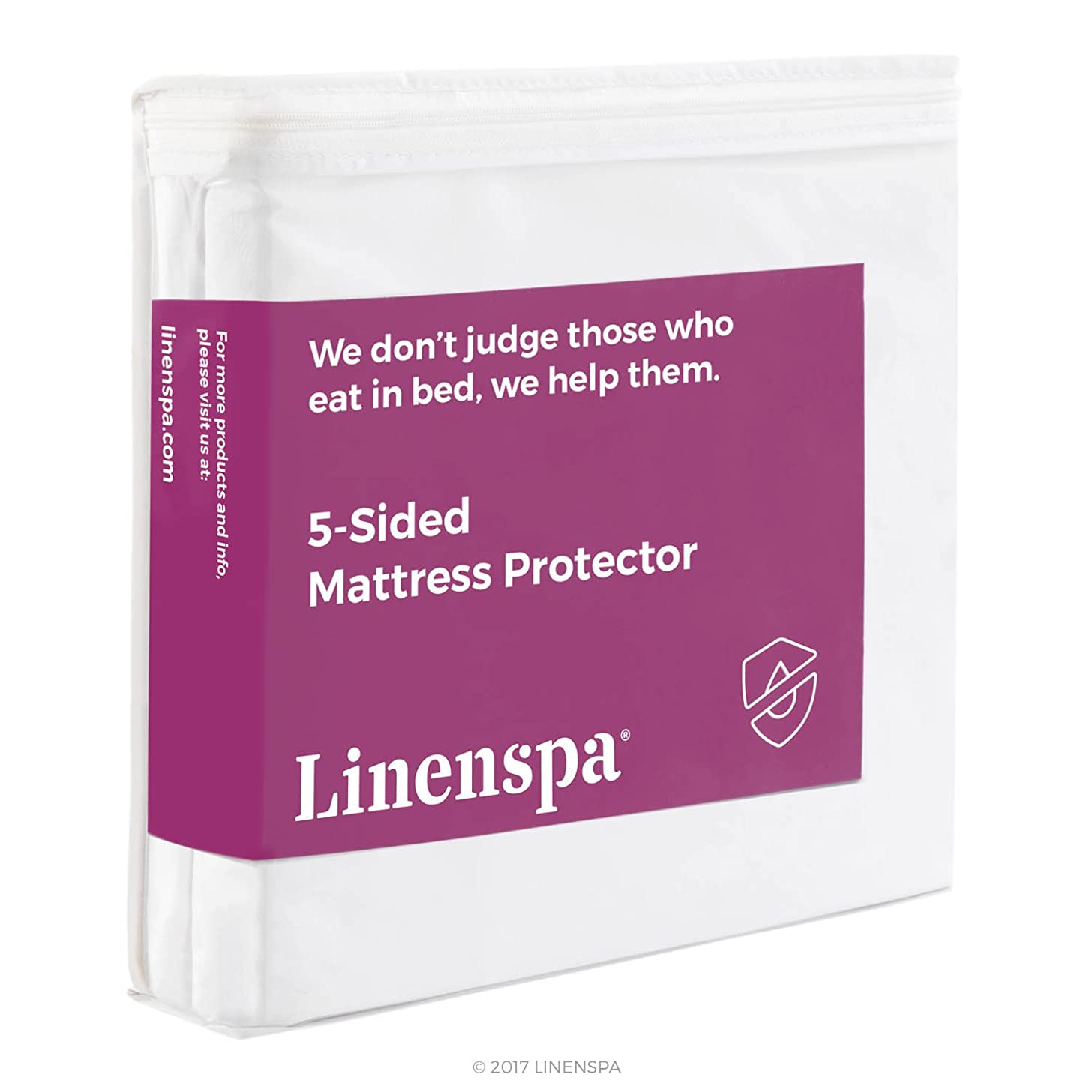 Twin Size LINENSPA Five Sided Mattress Protector - Guards Top and Sides of Mattress from Liquids, Dust Mites, and Allergens - Fitted Style - Waterproof Cover