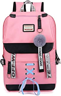 School Backpack Canvas USB School Bags for Girls Teenagers Backpack Women Bookbags Black Large Capacity Middle High Colleg...