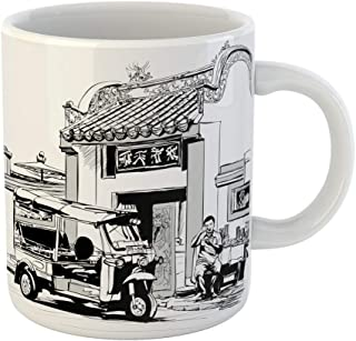 Emvency Coffee Tea Mug Gift 11 Ounces Funny Ceramic Food Tuk Driver Eating at the Door of Chinese Temple in Bangkok Thailand Gifts For Family Friends Coworkers Boss Mug