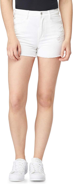 WallFlower Women's Juniors Destructed InstaVintage Mom Shorts