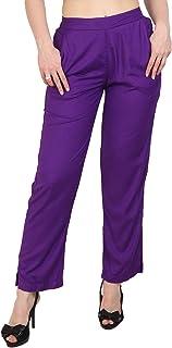 Makxziya Women's Purple Regular Fit Rayon Trouser