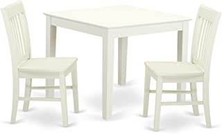 OXNO3-LWH-W 3-Piece Dinette table set - Table and 2 wood seat dining chairs in Linen White finish