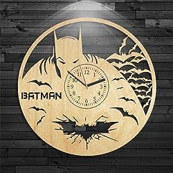 Batman Clock, Gift For Boy, DC Comics Birthday Gift, Batman Gift For Kids, Wall Clock Modern, Cartoon Wooden Clock, Batman Wood Clock, Wall Clock Vintage, Catwoman And Batman Wooden Clock