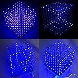 Frog Studio Home Arduino DIY 8x8x8 LED Cube 3D Light Square Electronic Soldering Sarter Kit Board (Blue Led)