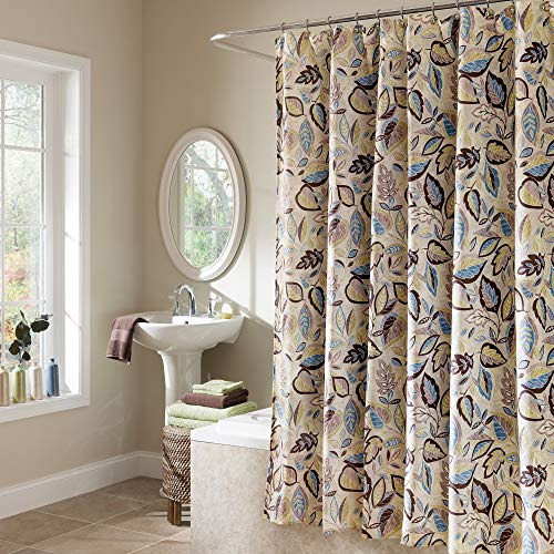 """EXCELL Home Fashions Jacobean Leaf Fabric Shower Curtain, Superior Quality Botanical Shower Curtain for Master Bathroom, Kid's, Guest Bathroom, 70"""" x 72"""", Multicolor"""