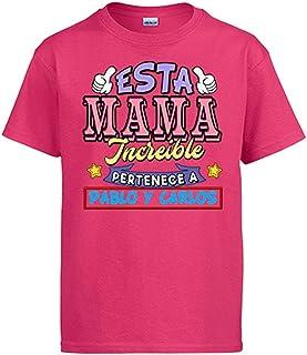 Diver Bebé Camiseta Personalizable con Nombre Ejemplo Esta mamá increíble Pertenece a Pablo y Carlos