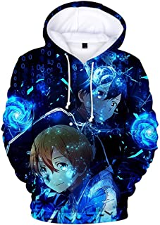 Zcbm Hoodie 3D Printed Unisex Cartoon Sword Art Online Sports Outdoors Sweatshirts Clothing Long Sleeve Loose Pullover Cosplay Fashion Sweater,A,L