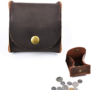 Juland Rustic Leather Moon Pocket Coin Case Genuine Leather Squeeze Coin Purse Pouch Change Holder Tray Purse Wallet for Men & Women - Dark Brown
