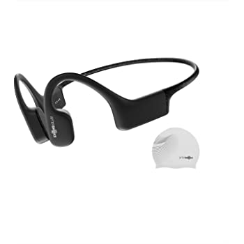 AfterShokz Xtrainerz Open-Ear MP3 Bone Conduction Wireless Sport Headphones, Waterproof for Lap Swimming and Watersports, Black Diamond with Swim Cap, 2.3