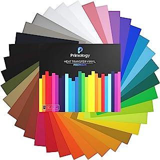 "Primology Heat Transfer Vinyl: 35 Pack 12"" x 10"" Premium Iron On Vinyl, HTV Vinyl for T-Shirts - 31 Assorted Colors - Black, White, Gold, Neon for Cricut, Silhouette Cameo, Heat Press Machine"