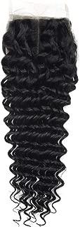 Angie Queen Hair Middle Part Lace Closure 4x4 Deep Wave Hair Brazilian Virgin Human Hair 130% Density Lace Closure Natural Black Color Hair (14, Middle Part Closure)