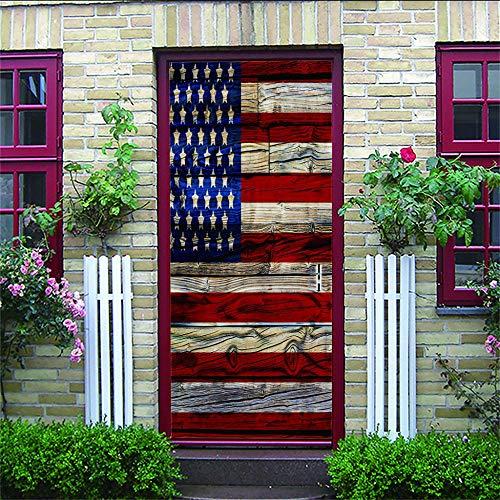 Etiqueta de la Puerta Tablero de madera de la bandera americana Mural de Carretera 3D Vinilo Autoadhesivo DIY Desmontable Dormitorio Sala de Estar Baño Calcomanía Arte Película Decoración 77X200CM
