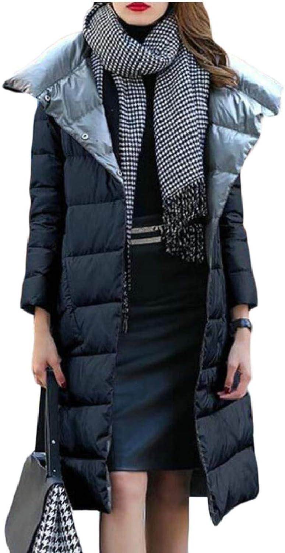 Qiangjinjiu Women Winter Thicken Warm Down Jacket Zipper Long Overcoat