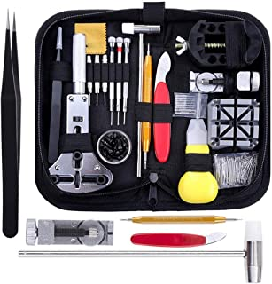 Watch Repair Tool Set Kit Black Professional Spring Bar Band Link Pin Battery Replacement with Carry Case 151PCS Sets Tool...