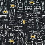 Jersey Stoff Batman, Batmobile, schwarz (50cm x 150cm)