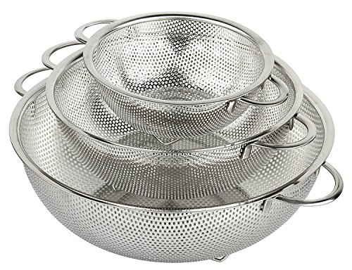 HÖLM 3-Piece Stainless Steel Mesh Micro-Perforated Strainer Colander Set (1-Quart, 2.5-Quart and 4.5-Quart)