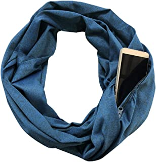BANLAN Pocket Scarf Pop Fashion Infinity Scarf Zipper Pattern Print Lightweight Wrap for Women Girls Ladies