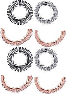 FRCOLOR 8PCS Plastic Stretch Hair Combs Flexible Teeth Headband Wig Accessories Hair Extension Tools