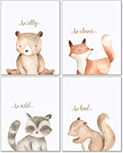 Woodland Nursery Wall Decor Art - 8x10 Unframed Set of 4 Prints - Forest Creatures Boy Girl Watercolor Quotes Animal Artwo...