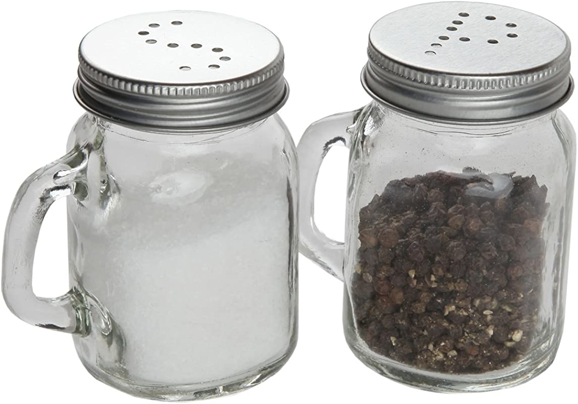 Lily S Home Country Kitchen Retro Glass Mason Jar Salt And Pepper Shaker Set With Handles