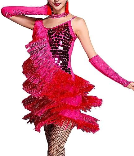 Robe de danse latine Femmes Paillettes Sans Manches Gland Robe De Danse Latine Robe Outfit Fringe Robe Flapper Sway Danse Robe De Cocktail Lady Salle De Bal Perforhommece Costume De Danse pour femmes mi