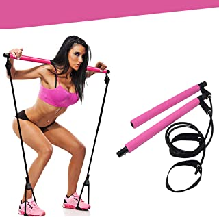 Pilates Bar Kit with Resistance Band, Portable Home Gym Workout Package,Resistance Band and Toning Bar Yoga Pilates Stick ...