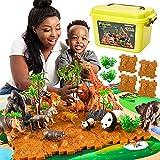 TOEY PLAY Figuras Animales Juguete, Animales Salvajes con Tapete de Juego y Maleta, Regalo Juguetes Niños Niñas 3 4 5 6 Años