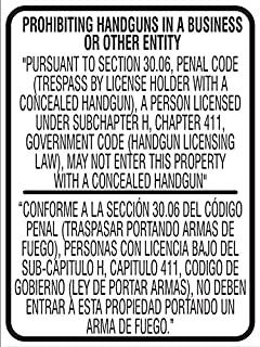 Texas concealed weapons sign. Meets Texas Department of Public Safety requirements (Penal Code Section 30.06(c)(3)(B)).