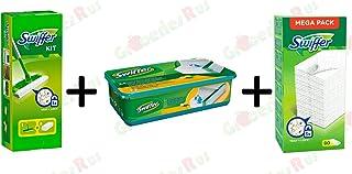 Swiffer Kit 1 golvmopp med 8 dammvippa + 24 våtdukar + dammtrasa påfyllningar 80-tal – buntpaket