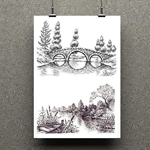 XinXinFeiEr Sellos transparentes de puente/paisajes para álbumes de recortes, bricolaje, clip de arte, tarjetas, decoración de sellos de manualidades