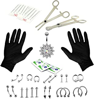 Unihubys Piercing Kit, 41PC Professional Body Piercing Kit Surgical Steel 14G 16G Belly Ring Tongue Tragus Nipple Nose