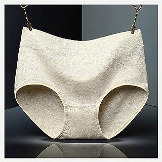 5 قطع من القطن الملون للنساء ملابس داخلية لون سادة خصر عالي البطن موجزات النساء (اللون: 5 قطع، الحجم: كبير)