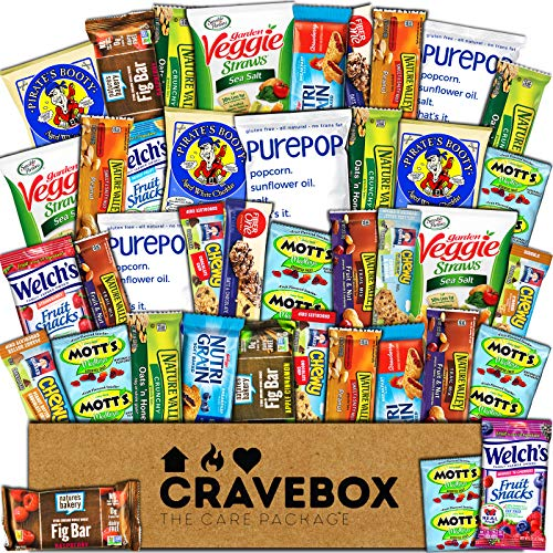 CraveBox - Healthy Snacks Care Package (40 Count) - Variety Assortment with Fruit Chews, Granola Bars, Popcorn and More, Gift Snack Box, Offices, College Students, Final Exams, Valentine's Day