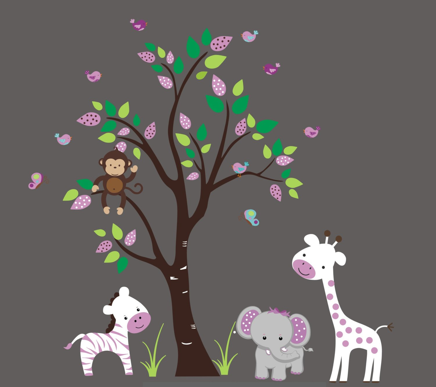 White and Purple Animal Decals for Kids Nursery - free shipping Wall Room Branded goods Stic