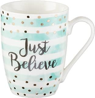 Cute Inspirational Coffee/Tea Mug for Women | Just Believe Mark 5:36 Bible Verse Motivational Mug | Pastel Mint Ceramic Coffee Cup 11oz