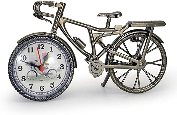GardenHelper Antique Crafts Retro Vintage Style Bicycle Desk Shelf Clock Modern Home Office Decoration Tabletop Display Ornament
