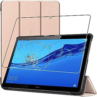 ebestStar - Funda Compatible con Huawei MediaPad T5 10.1 Carcasa Cuero PU y Silicona, Smart Cover Reposo Automático, Dorado + Cristal Templado Protector [T5 10.1: 243 x 164 x 7.8mm, 10.1'']
