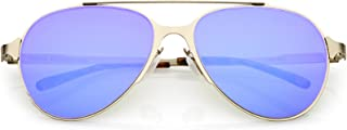 sunglassLA - Ultra Sleek Straight Metal Crossbar Color Mirrored Flat Lens Aviator Sunglasses 56mm