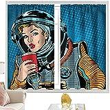 Cortinas Art,Pop Art Astronaut Lady Beverage W52 x L63 pulgadas Cortinas opacas con bolsillo para barra