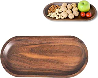 Solid Wooden Serving Tray,Decorative Trays,Serving Platters for Food Tea Coffee Wine Premium Quality, Eco-friendly, Oval-Shaped - Black Walnut (Large)
