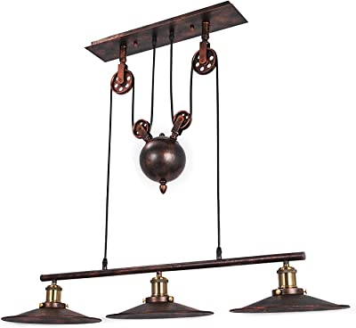 """OrangeA Pulley Pendant Light 18"""" Dia x 34.4"""" H Vintage Ceiling Lamp 39"""" Adjustable Cable Retractable Hanging Pendant Light Without Plug in Cord for 15-20㎡ Room"""