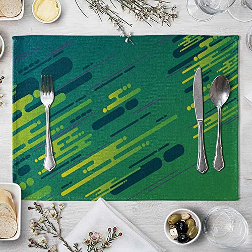 Green Yellow Placemats for 4 Dining Table, Stripes Pattern Rectangle Placemats for Dining Table Heat Resistant 40x30cm