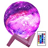 HYODREAM 3D Moon Lamp Kids Night Light Galaxy Lamp 16 Colors LED Light with Rechargeable Battery Touch & Remote Control as Birthday Gift for Boys/Girls/Baby