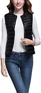 Gooket Women Packable Lightweight Down Vest Gilet Quilted Zip Light Weight Collarless Puffer Vest Waistcoat