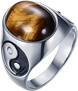 ALEXTINA Men's Stainless Steel Ring Oval Tiger's Eye Yin Yang Ba Gua Eight Trigrams Amulet Signet Band