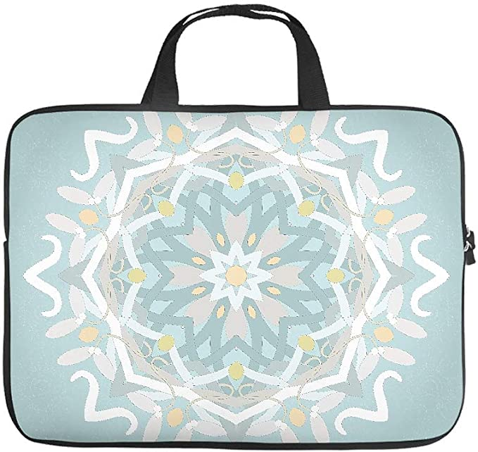 Stylish Tablet Sleeve Beige Flower Mandala Graphic Tablet Sleeves Dust-Proof Neoprene Laptop Briefcase for Girls Boys White 13inch