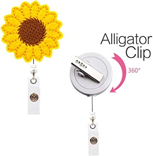 HOT Sale!! Sunflower Stylish Keychain Retractable Badge Reel Holder Accurate Stitching Strap Lightweight Telescopic Retracting Clip LUORATA (Yellow)